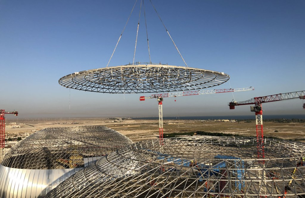 Apex lift of industrial dome at Al-Zour Refinery, Kuwait